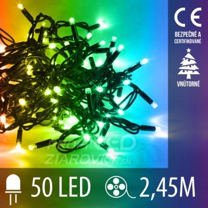 Vianočná LED svetelná reťaz vnútorná - 50LED - 2,45M Multicolour