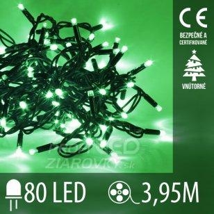 Vianočná LED svetelná reťaz vnútorná - 80LED - 3,95M Zelená