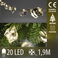 Vianočná led svetelná reťaz vnútorná na batérie - akrylový krištáľ - 20led - 1,9m teplá biela
