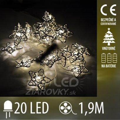 Vianočná LED svetelná reťaz vnútorná na batérie - drôtené hviezdičky - 20LED - 1,90M Teplá biela