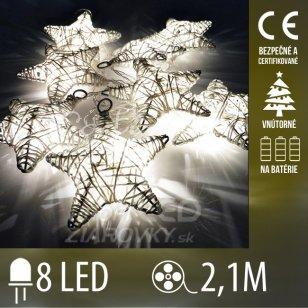 Vianočná LED svetelná reťaz vnútorná na batérie - drôtené hviezdičky - 8LED - 2,1M Teplá biela