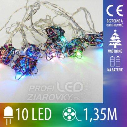 Vianočná LED svetelná reťaz vnútorná - na batérie - hviezdičky - 10LED - 1,35M Multicolour