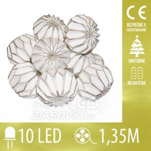 Vianočná LED svetelná reťaz vnútorná - na batérie - papierové gule - strieborné - 10LED - 1,35M Teplá biela