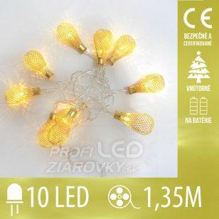 Vianočná LED svetelná reťaz vnútorná na batérie - zlaté lampičky - 10LED - 1,35M Teplá biela