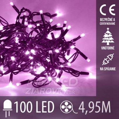 Vianočná led svetelná reťaz vnútorná na spájanie - 100led - 4,95m fialová