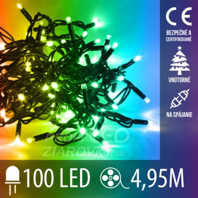 Vianočná LED svetelná reťaz vnútorná na spájanie - 100LED - 4,95M Multicolour