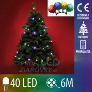 Vianočná LED svetelná reťaz vnútorná + programy - farebné gule 3 cm - 40LED - 6M Multicolour