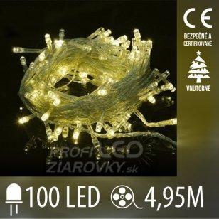Vianočná LED svetelná reťaz vnútorná s priesvitným káblom - 100LED - 4,95M Teplá biela