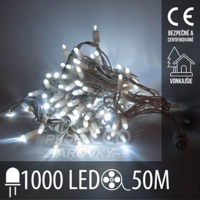 Vianočná led svetelná reťaz vonkajšia - 1000led - 50m studená biela