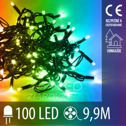 Vianočná LED svetelná reťaz vonkajšia - 100LED - 9,9M Multicolour