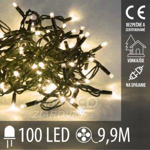 Vianočná LED svetelná reťaz vonkajšia na spájanie - 100LED - 9,9M Teplá Biela