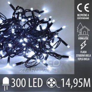 Vianočná LED svetelná reťaz vonkajšia FLASH - 300LED - 14,95M Studená Biela+Teplá Biela
