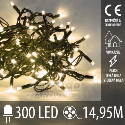 Vianočná LED svetelná reťaz vonkajšia FLASH - 300LED - 14,95M Teplá Biela+Studená Biela