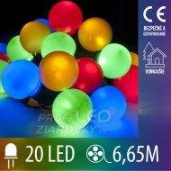Vianočná LED svetelná reťaz vonkajšia guľky - 20LED - 6,65M Multicolour