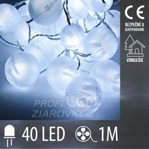 Vianočná LED svetelná reťaz vonkajšia guľky - 40LED - 1M Studená Biela