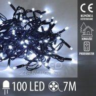 Vianočná led svetelná reťaz vonkajšia + programy - 100led - 7m studená biela