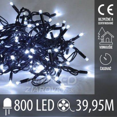 Vianočná LED svetelná reťaz vonkajšia s časovačom - 800LED - 39,95M Studená Biela