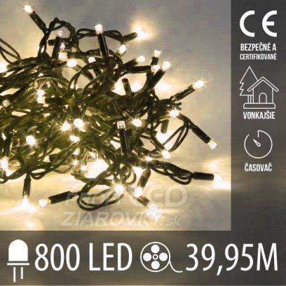 Vianočná LED svetelná reťaz vonkajšia s časovačom - 800LED - 39,95M Teplá biela