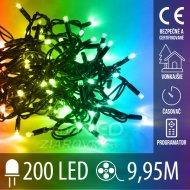 Vianočná LED svetelná reťaz vonkajšia s časovačom + programy - 200LED - 9,95M Multicolour