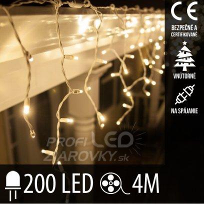 Vianočná LED svetelná záclona na spájanie vnútorná 200LED - 4M Teplá biela
