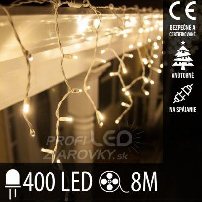 Vianočná LED svetelná záclona na spájanie vnútorná 400LED - 8M Teplá biela