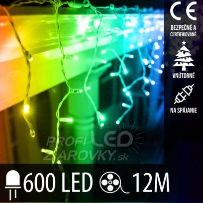 Vianočná LED svetelná záclona na spájanie vnútorná 600LED - 12M Multicolour