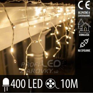 Vianočná led svetelná záclona na spájanie vonkajšia - 400led - 10m teplá biela
