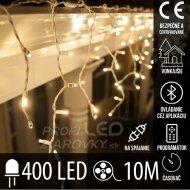 Vianočná LED svetelná záclona na spájanie vonkajšia - programy - časovač + Bluetooth - 400LED - 10M Teplá biela