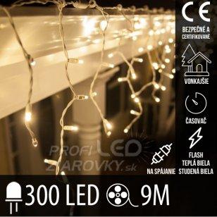 Vianočná LED svetelná záclona vonkajšia FLASH s časovačom - na spájanie - 300LED - 9M Teplá biela/Studená biela