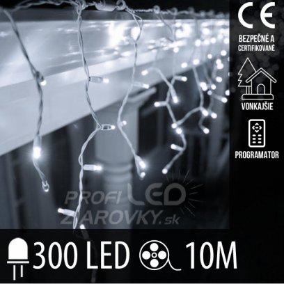 Vianočná LED svetelná záclona vonkajšia + programy - 300LED - 10M Studená biela