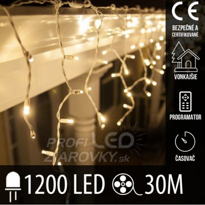 Vianočná led svetelná záclona vonkajšia - programy - časovač + diaľkový ovládač - 1200led - 30m teplá biela