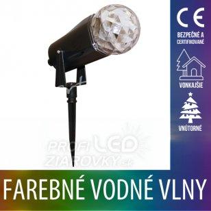 Vianočný LED svetelný projektor vonkajší/vnútorný - farebné vodné vlny - Multicolour