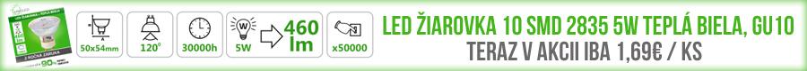 LED ŽIAROVKA 10 SMD 2835 5W TEPLÁ BIELA, GU10